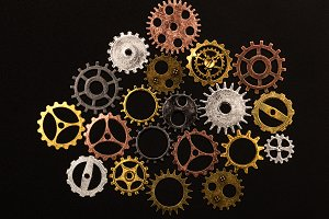 Group of different colorful cogwheel