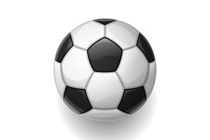 Soccer ball on white background. Sports football illustration