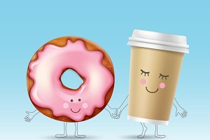 Donut and coffee character