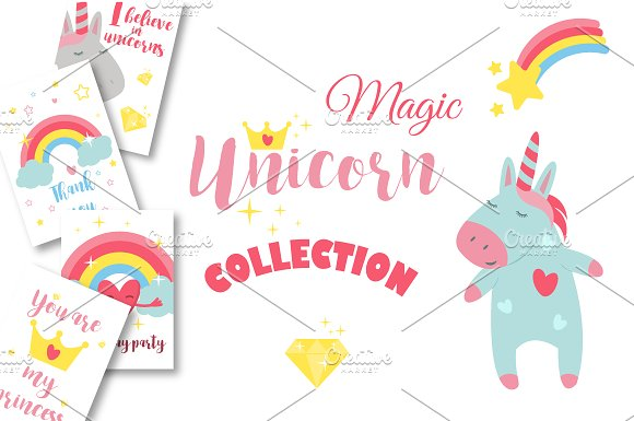 Magic Unicorn Collection Vector
