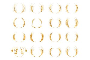 Set of silhouette circular laurel foliate and wheat wreaths.