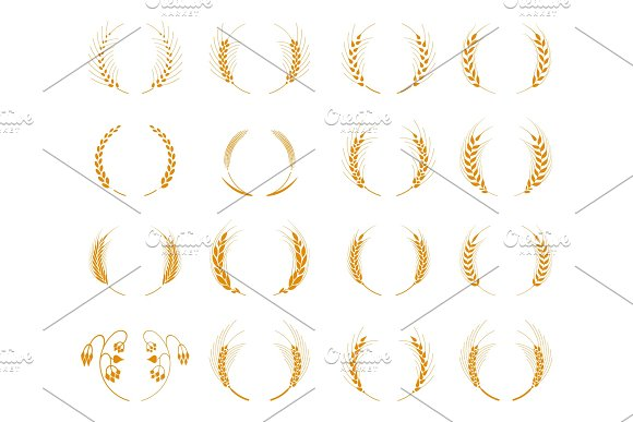 Set Of Silhouette Circular Laurel Foliate And Wheat Wreaths