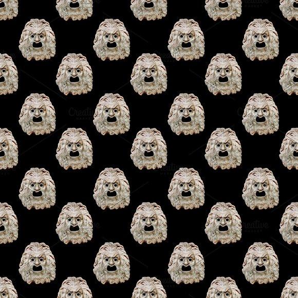 Mask Theater Motif Seamless Pattern