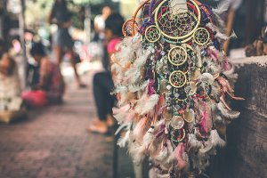 Dreamcatcher in the street shop on Bali island, Ubud.
