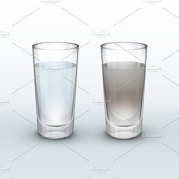 Clean And Dirty Water In Glass