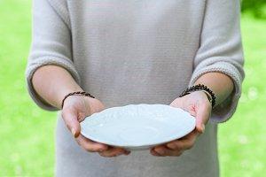 Empty porcelain plate