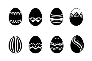 Easter eggs black icons set