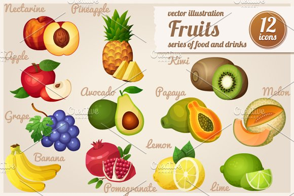 Set of food icons. Fruits. - Icons