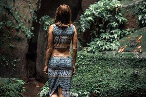 Woman in the ddep jungle of Bali island, Indonesia.