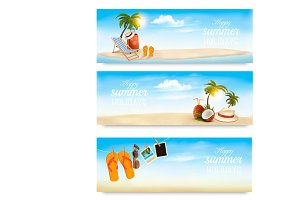 Summer vacation banners. Vector.