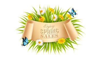 Spring Sale Background. Vector