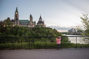 Boy Looking at Parliament of Canada
