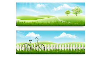 Nature summer banners. Vector