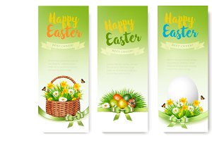 Three Easter Sale banners. Vector