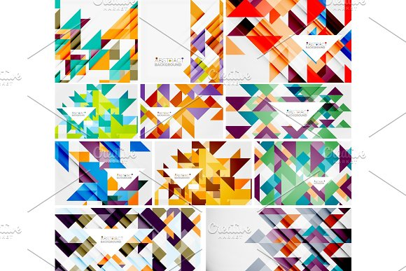 Triangle templates mega collection - abstract background designs. For banners, business backgrounds, presentations