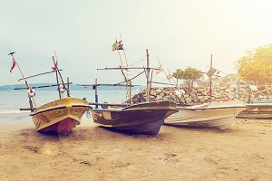 Fishing boats on a Tropical Beach