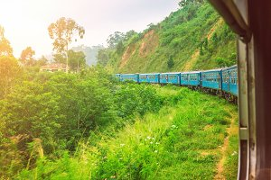 Train in the highlands of Sri Lanka