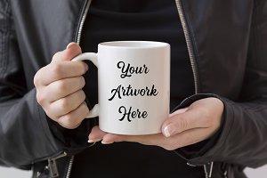 Hands holding mug mockup