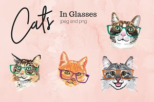 Illustrated Cats in Glasses