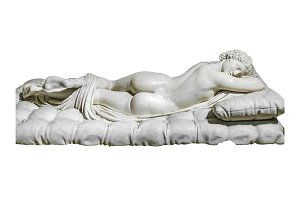 Woman Sleeping Sculpture Isolated Photo