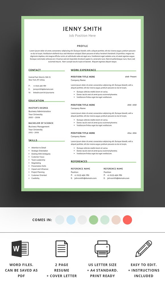 Resume Template Word Modern Clean CV in Resume Templates - product preview 3