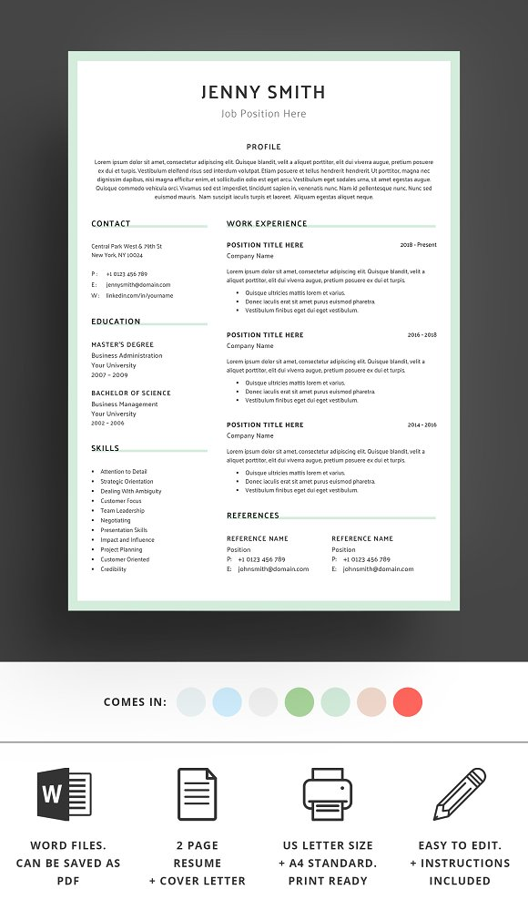 Resume Template Word Modern Clean CV in Resume Templates - product preview 4