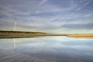 Maasvlakte beach with windmill