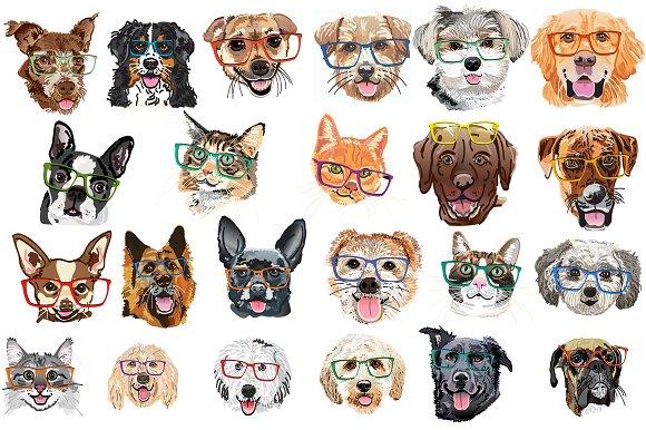Watercolor Pet Bundle In Glasses