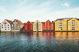 Colorful houses Trondheim city