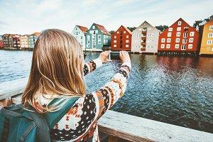 Traveler woman taking photo