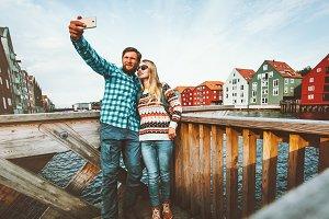 Couple in love taking selfie travel