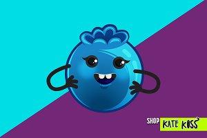 Smiling Blueberry Illustration