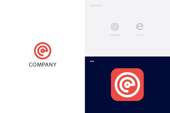 Connecting Letter E Logo Template