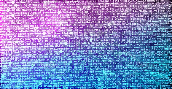 Diagonal pink and purple hacker code background
