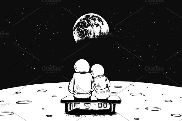 Astronaut Girl And Boy Sits On Bench
