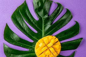 Creative layout made of summer tropical fruits mango and tropical leaves on purple background. Flat lay. Tropical food concept.