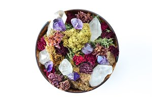 Dried Flowers and Crystals