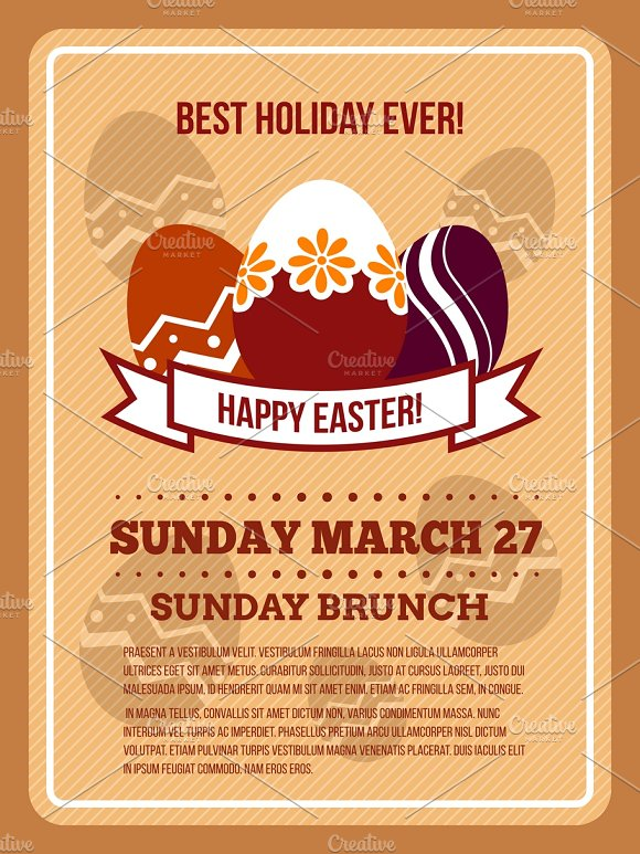 Easter Invitation Poster Template