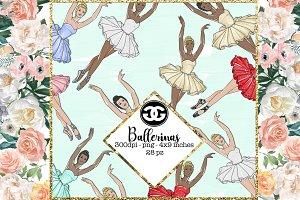 Ballerina png clip art set