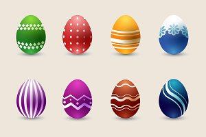 Realistic color Easter eggs set