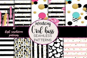 Girl boss seamless patterns