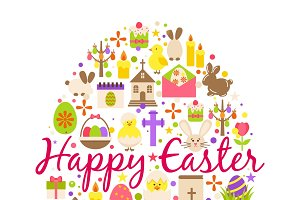 Happy easter cartoon greeting card