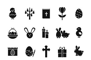 Easter black icons set