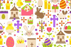 Easter retro seamless pattern
