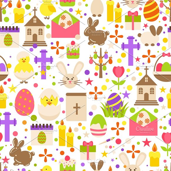 Easter Retro Seamless Pattern