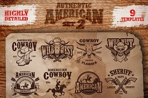 Set of vintage cowboy emblems.