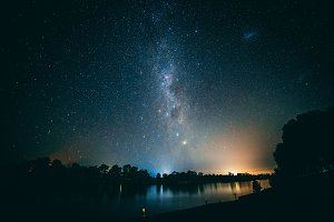 Milky way above a river