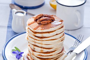Pancakes with Maple Syrup and Pecan