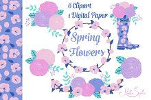 Spring Flowers clipart and paper set