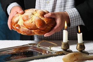 Heap of sweet round sabbath challah